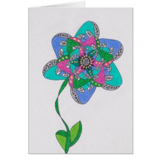 cumpleaños moderno de la flor e tarjeta de felicitación