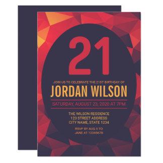 Cumpleaños moderno del polígono caliente de los invitación 12,7 x 17,8 cm