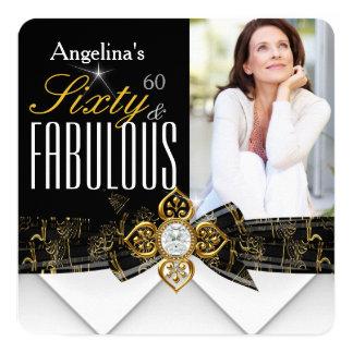 Cumpleaños moderno elegante del oro fabuloso de 60 invitación 13,3 cm x 13,3cm