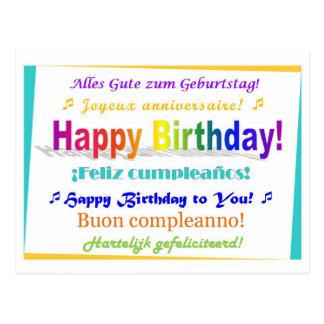 Cumpleaños multilingüe postal