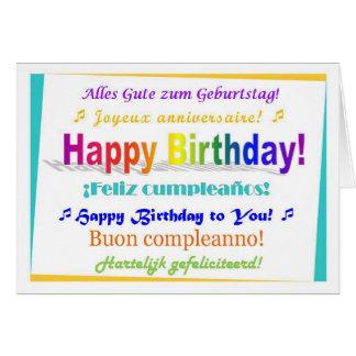 Cumpleaños multilingüe tarjeta de felicitación