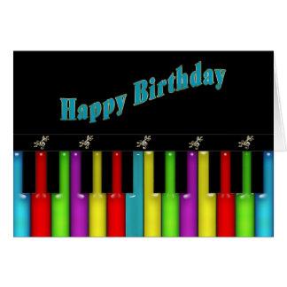 Cumpleaños - Musical - teclado colorido Tarjeta