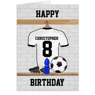 Cumpleaños negro blanco del jersey de fútbol del f