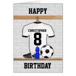 Cumpleaños negro blanco del jersey de fútbol del f tarjeta