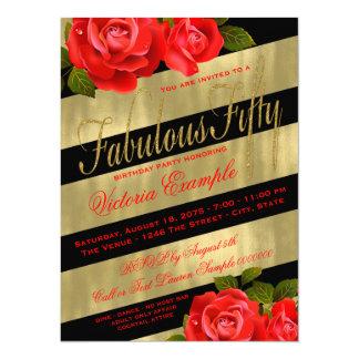 Cumpleaños negro del rosa rojo del oro 50.o invitación 13,9 x 19,0 cm