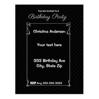 Cumpleaños negro elegante postal