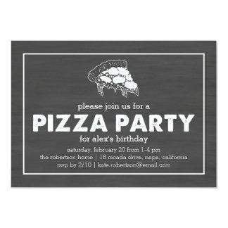 Cumpleaños negro y blanco del fiesta de la pizza invitación 12,7 x 17,8 cm