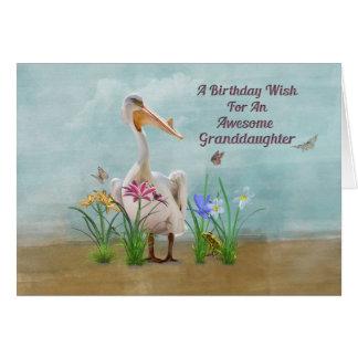 Cumpleaños, nieta, pelícano, flores tarjetas