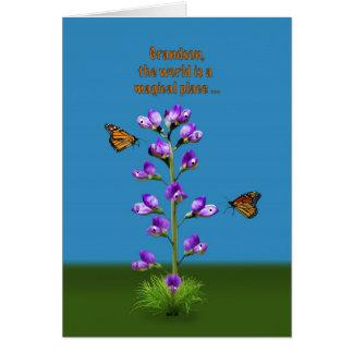 Cumpleaños, nieto, guisantes de olor y mariposas tarjeta de felicitación