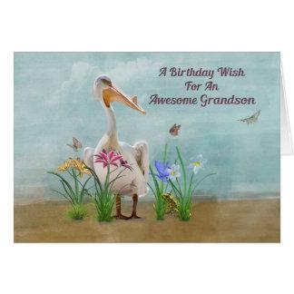 Cumpleaños, nieto, pelícano, flores tarjetón