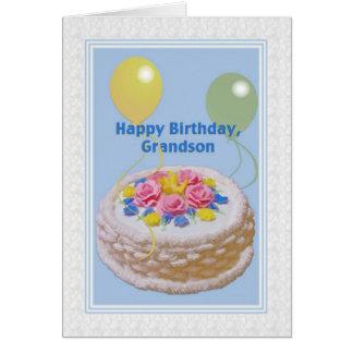 Cumpleaños, nieto, torta y globos tarjeta de felicitación