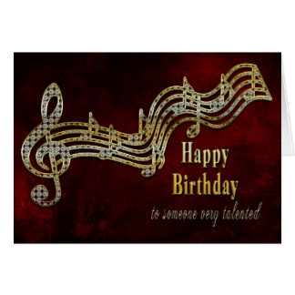 Cumpleaños - notas musicales tarjeta de felicitación