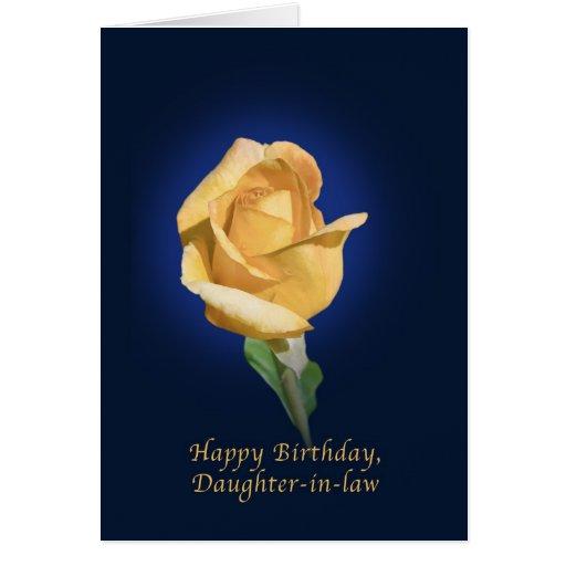 Cumpleaños, nuera, brote del rosa amarillo tarjetas