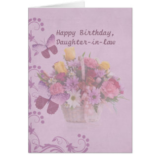 Cumpleaños, nuera, cesta de flores tarjeta de felicitación