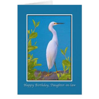 Cumpleaños, nuera, Egret nevado Tarjeta De Felicitación