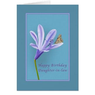 Cumpleaños, nuera, flor, mariposa tarjeta de felicitación