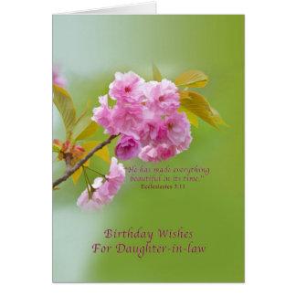 Cumpleaños, nuera, flores de cerezo tarjeta de felicitación