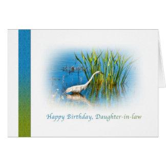 Cumpleaños, nuera, gran Egret en una charca Tarjeta De Felicitación