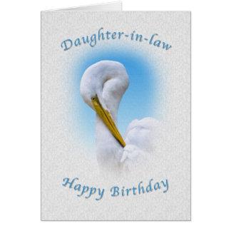 Cumpleaños, nuera, gran pájaro del Egret Tarjeta De Felicitación