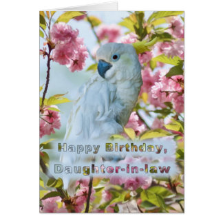 Cumpleaños, nuera, loro blanco tarjeta de felicitación