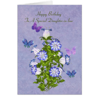Cumpleaños, nuera, mariposas y flores tarjeta de felicitación