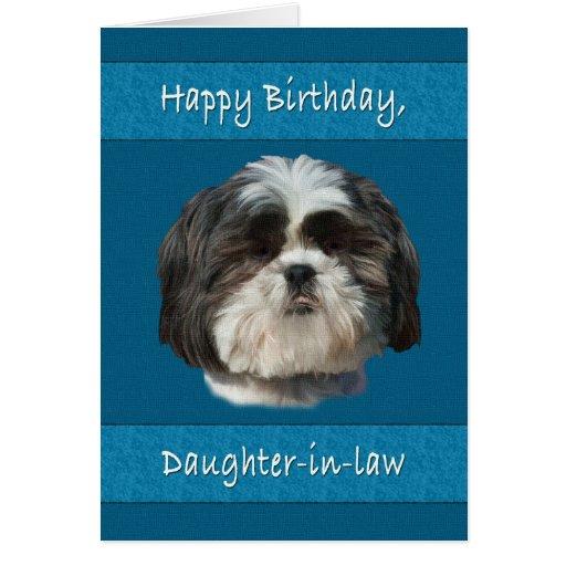 Cumpleaños, nuera, perro de Shih Tzu Tarjetón