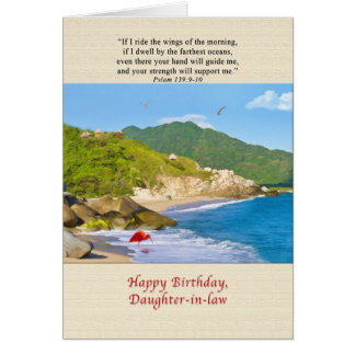 Cumpleaños, nuera, playa, colinas, pájaros tarjeta de felicitación