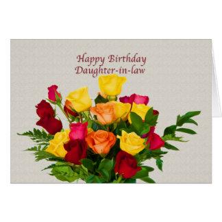 Cumpleaños, nuera, tarjeta color de rosa del ramo