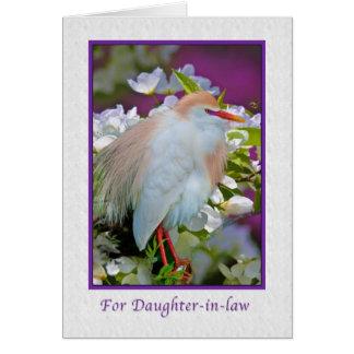 Cumpleaños, nuera, tarjeta del pájaro del Egret de
