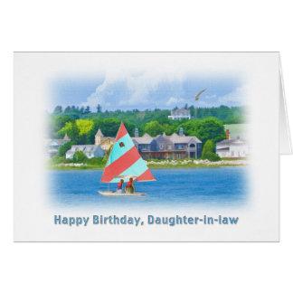 Cumpleaños, nuera, velero en un lago tarjeta de felicitación