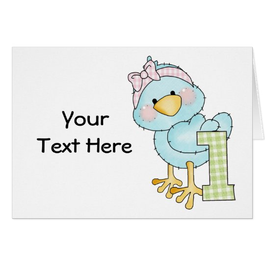 Cumpleaños pájaro de 1 año (personalizable) tarjeta de felicitación