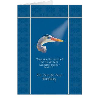 Cumpleaños, pájaro de la garza de azul religioso, tarjeta de felicitación