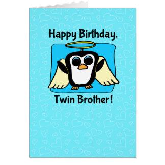Cumpleaños para Brother gemelo - poco pingüino del Tarjeta