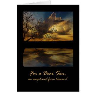 Cumpleaños para el hijo, la puesta del sol tarjeta de felicitación
