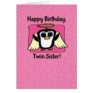 Cumpleaños para la hermana gemela - poco pingüino tarjeta de felicitación