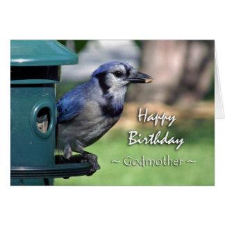 Cumpleaños para la madrina, arrendajo azul en el tarjeta de felicitación