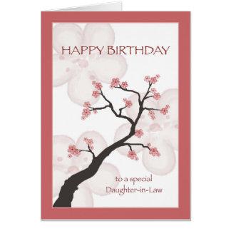 Cumpleaños para la nuera, árbol chino del flor tarjeta de felicitación