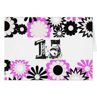 Cumpleaños para los 15 años, flores brillantes tarjetón