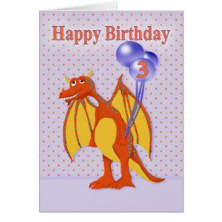 Cumpleaños para tres años con el dragón del dibujo tarjeta de felicitación