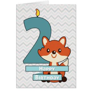 Cumpleaños para un niño que da vuelta a dos años tarjeta de felicitación