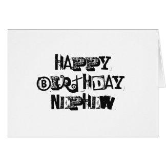 Cumpleaños para un sobrino, letras negras en tarjeta de felicitación