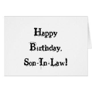 Cumpleaños para un yerno, letras negras en blanco tarjeta