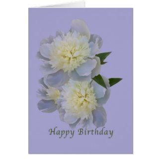 Cumpleaños, Peonies blancos en tarjeta de la lavan