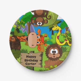 Cumpleaños personalizado de la selva plato de papel