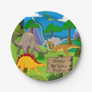 Cumpleaños personalizado del dinosaurio plato de papel
