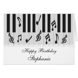 Cumpleaños personalizado del teclado de piano tarjeta