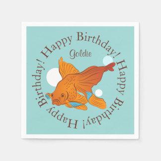 Cumpleaños personalizado gráfico del Goldfish y de Servilletas Desechables