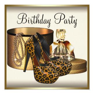 Cumpleaños poner crema del oro de la mujer del invitación 13,3 cm x 13,3cm