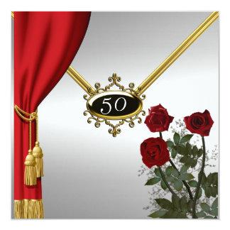 Cumpleaños popular de las flores y de la cortina invitación 13,3 cm x 13,3cm