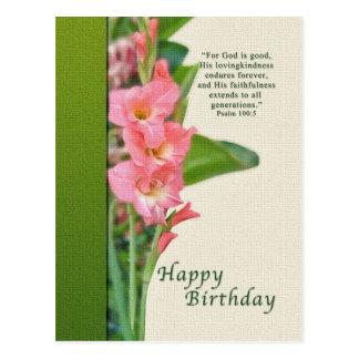 Cumpleaños, postal rosada del gladiolo
